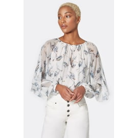 KRISTON Patterned Silk Blouse - Porcelain