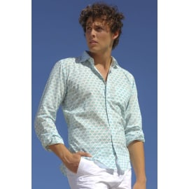 Lefkada Cotton Shirt - White/Mint Green