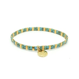 STILL Stretch Bracelet - Teal/Gold