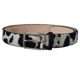 Cow Print Belt - Black & White