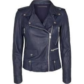 SEATTLE THIN Leather Jacket - Blue Night