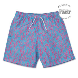 Men's Swim Shorts - Seaweed Bright Blue/Coral Pink