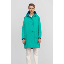 Reversible Mid Length Rain Coat - Mint/Cerulean