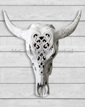 Large White Carved Bison Wall Head
