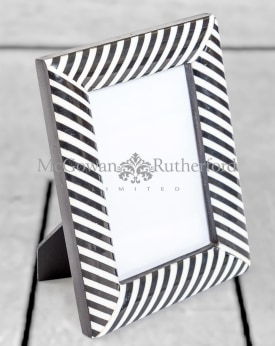 "Black and White Striped 4x6"" Photo Frame"