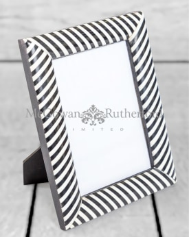 "Black and White Striped 5x7"" Photo Frame"