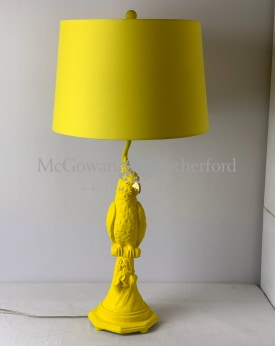 Matt Yellow Parrot Table Lamp with Metallic Lined Yellow Shade
