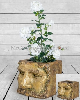 Large Antiqued Gold Classical Face Planter