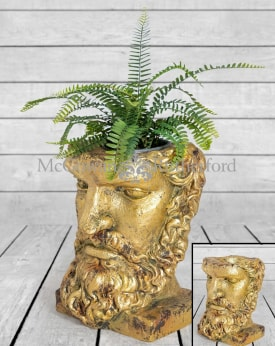 Tall Antiqued Gold Classical Face Planter