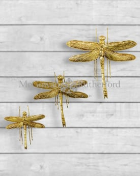 Set of 3 Antique Gold Dragonfly Wall Figures