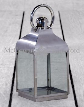 Small Square Polished Steel and Glass Lantern