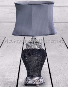 Silver Mosaic Style Lamp with Silver Oval Shade