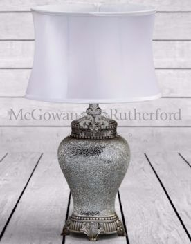 White Mosaic Style Lamp with White Oval Shade