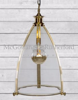 Brass Framed Glass Large Lantern Ceiling Light