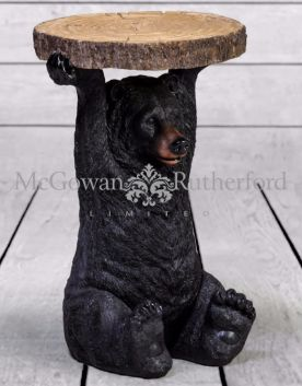 "Black Bear Holding ""Trunk Slice"" Side Table"