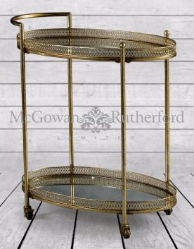 Antique Gold Metal Trolley with Mirrored Shelves