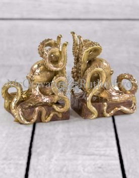 Gold Octopus Pair of Bookends