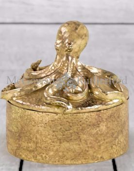 Gold Octopus Round Trinket Box