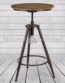 Metal and Wood Industrial Bar Table
