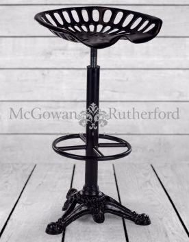 Antiqued Iron Tractor Seat Bar Stool