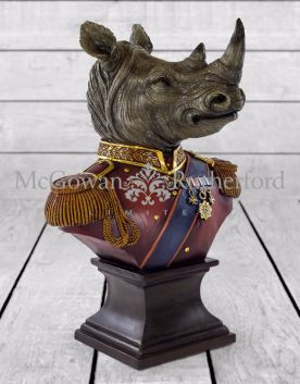 Gentry Rhino Bust on Square Base