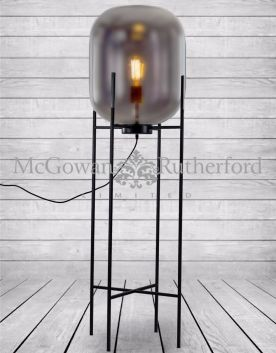 Large Smoked Glass Edison Lamp on Black Floor Stand