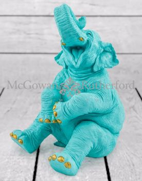 Pale Blue with Gold Details Laughing Elephant