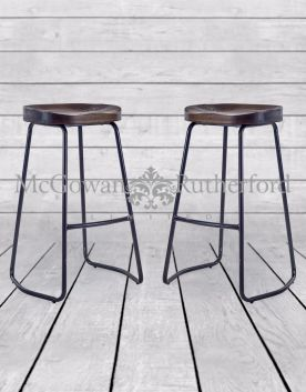 Pair of Iron and Wood Industrial Bar Stools