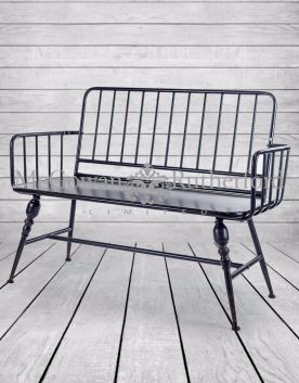 "Black Metal ""Verne"" 2 Seater Bench"
