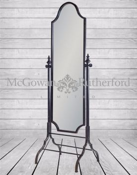 "Black Metal ""Verne"" Cheval Dressing Mirror"