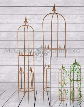 Antiqued Rusted S/2 Garden Grower Obelisks