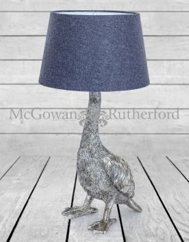 Antique Silver Goose Table Lamp with Grey Shade