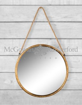 Large Round Gold Metal Mirror on Hanging Rope with Hook