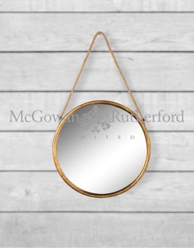 Small Round Gold Metal Mirror on Hanging Rope with Hook