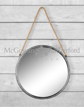 Large Round Silver Metal Mirror on Hanging Rope with Hook