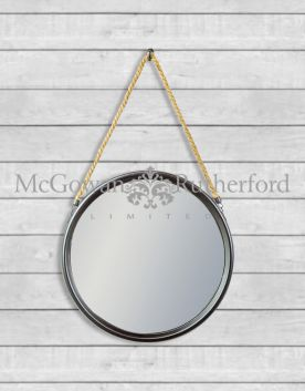 Medium Round Black Metal Mirror on Hanging Rope with Hook