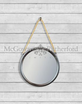 Small Round Black Metal Mirror on Hanging Rope with Hook
