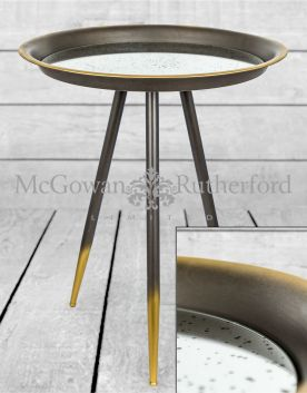 Iron and Antiqued Glass Large Side Table