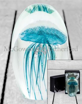 Large Blue Jellyfish Glass Paperweight with Gift Box