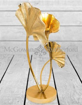 Large Gilded Aluminium Ginkgo Leaf Table Lamp