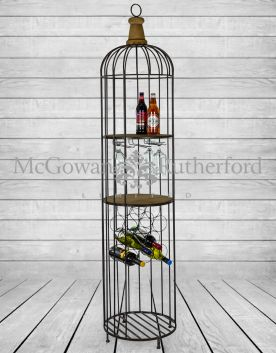 Black Metal and Wood Bar Storage Unit