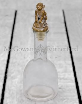 Glass with Gold Monkey Lid Storage Bottle
