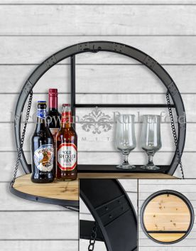 Antiqued Metal Barrel Wall Bar Unit