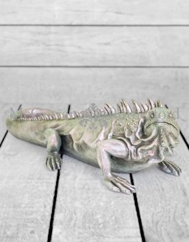Extra Large Antique Silver Iguana Figure