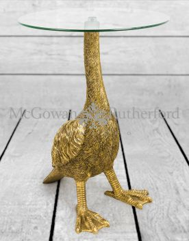 Antiqued Gold Goose Side Table