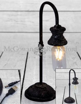Antiqued Iron Arch LED Table Lamp (USB Rechargeable)