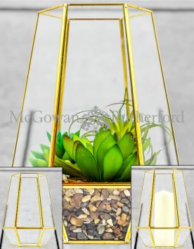 Large Gold Metal and Glass Candle Holder/ Planter