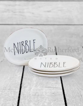 "Set of 4 Oval Ceramic ""Nibble"" Plates"