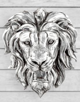 Large Silver Roaring Lion Wall Head