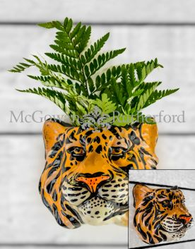 Ceramic Tiger Head Wall Sconce Vase